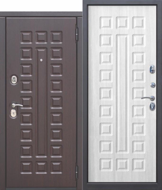 Входная металлическая дверь 10 см МОНАРХ МДФ/МДФ Белый ясень с МДФ панелями