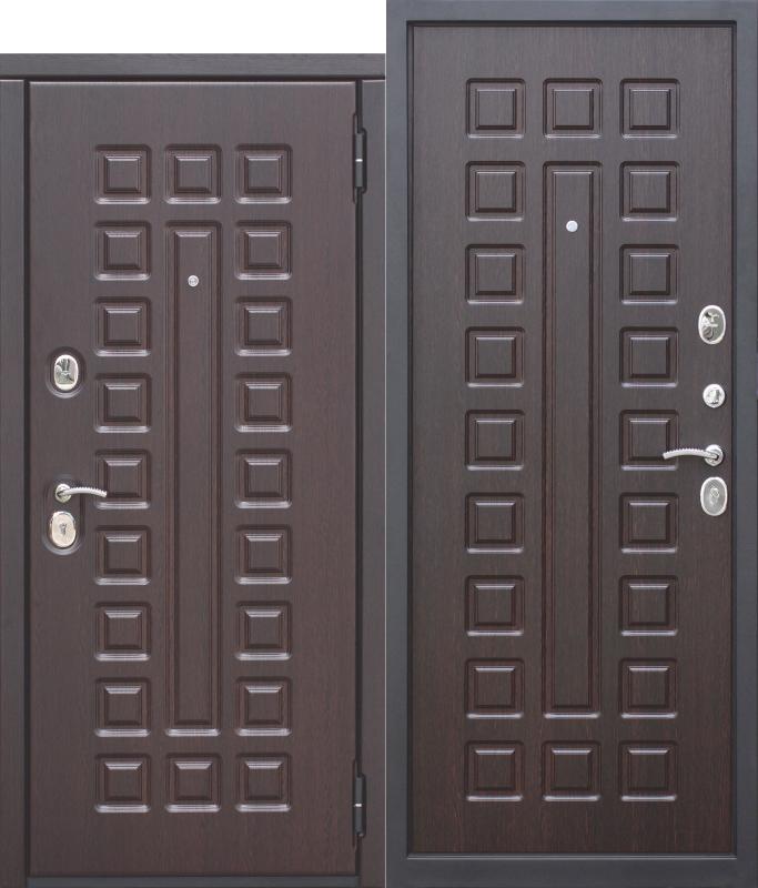 Входная металлическая дверь 10 см МОНАРХ МДФ/МДФ Венге с МДФ панелями