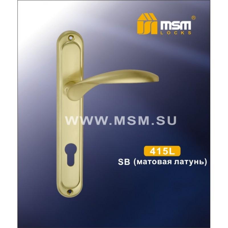 Ручка дверная 415 L SB вх/б мат. золото MSM