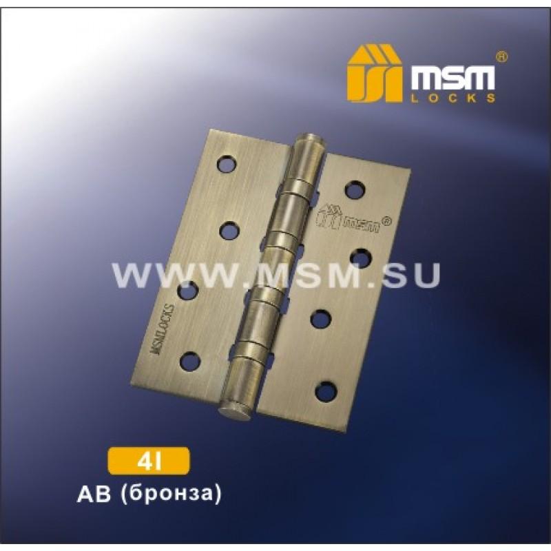 Петля универсальная б/к 4х3х2,5 4I AB бронза MSM
